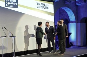 EDMUNDO CASTILLO AND MANUELE BIANCHI ACCEPTING THE T + L DESIGN AWARD FOR BEST TRAVEL SHOES