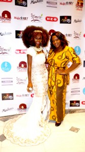 Isis Brantley (Right) wearing TeKay Designs African inspired gown with Fashion Designer Kimma Wreh of TeKay Designs. Event: Nzuri Diamond Awards Gala. Photographer: Russell In Motion