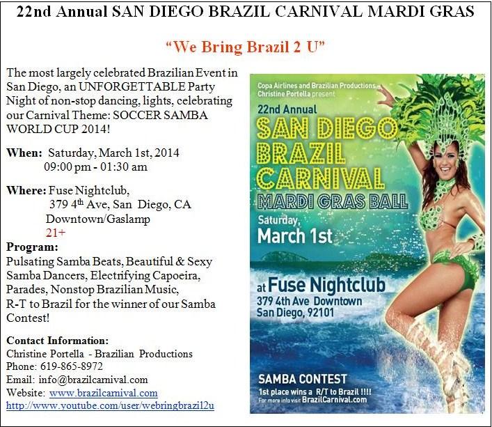 22nd Annual San Diego Brazil Carnival Mardi Gras